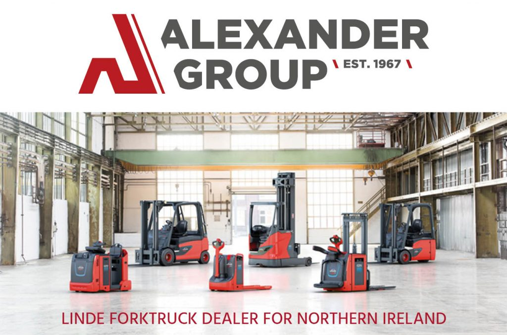 Linde forktruck range with Northern Ireland dealer logo The Alexander Group