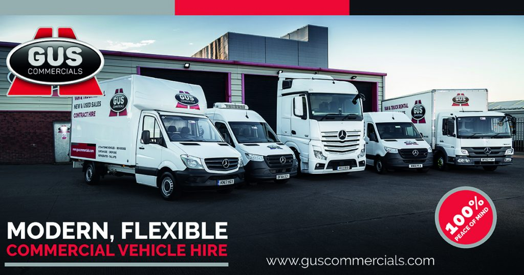 A line up of Gus Commercials hire vehicles