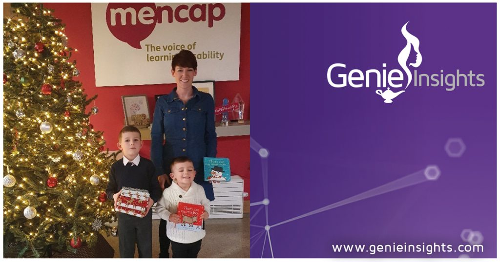 Laura Reeve of Genie Insights and her children visiting Mencap's Children's Centre to deliver a Christmas donation